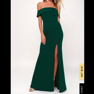 Lulu's Off-the-Shoulder Forest Green Maxi Dress